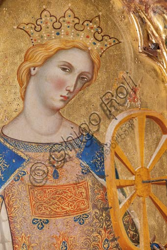 San Severino Marche, Pinacoteca Comunale: Paolo Veneziano, Polyptych (1358) with Saints. Detail of St. Catherine of Alessandria holding the torture wheel.