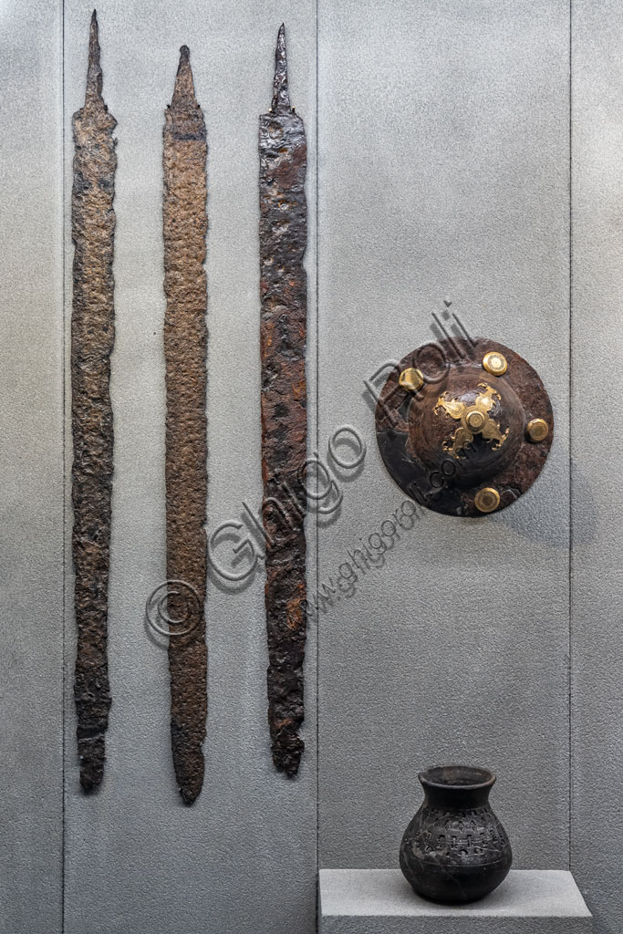 "Brescia, ""Santa Giulia, Museum of the City"" (Unesco site since 2011): elements of a Longobard tomb kit (late 6th-7th century) found in the necropolis of Leno, Porzano."