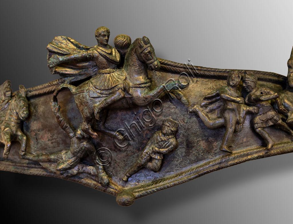 """Brescia, """"Santa Giulia, Museo della Città"""", (sito Unesco dal 2011): elemento decorativo in bronzo  rinvenutoo presso il Capitolium (I - III secolo d.C.)."""