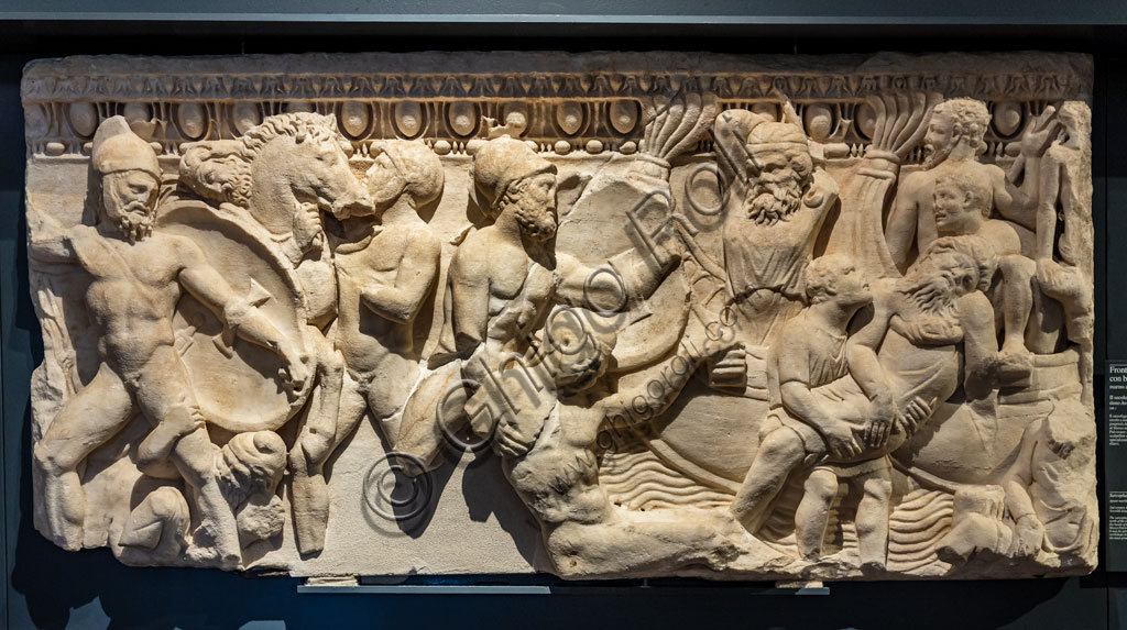 """Brescia, """"Santa Giulia, Museum of the City"""" (Unesco site since 2011): front of a sarcophagus with a naval combat  (II century AD)."""