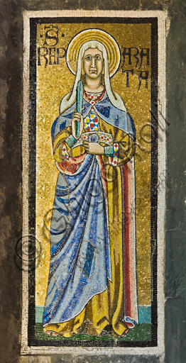 Firenze, Battistero di San Giovanni, i matronei, galleria est,  tribuna centrale (degli Evangelisti):  mosaici dell'ambiente del Maestro di San Gaggio e del Maestro di Santa Cecilia (circa 1300-1310). Particolare con Santa Reparata.
