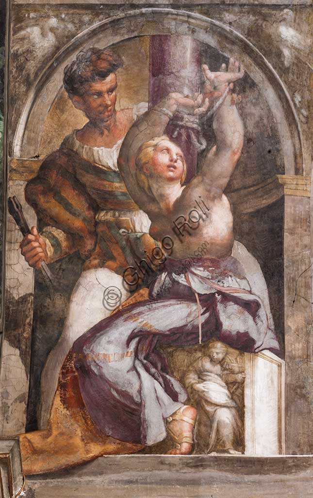 "Parma, Church of San Giovanni Evangelista, left aisle, first chapel: ""St. "",  fresco by Girolamo Francesco M. Mazzola, known as Parmigianino (about 1523)."