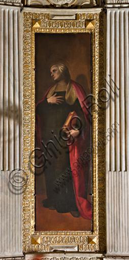 """Genova, Duomo (Cattedrale di S. Lorenzo), interno, Cappella Lercari o del Santissimo Sacramento (abside settentrionale): """"Sant'Anna"""", di Luca Cambiaso, 1575."""