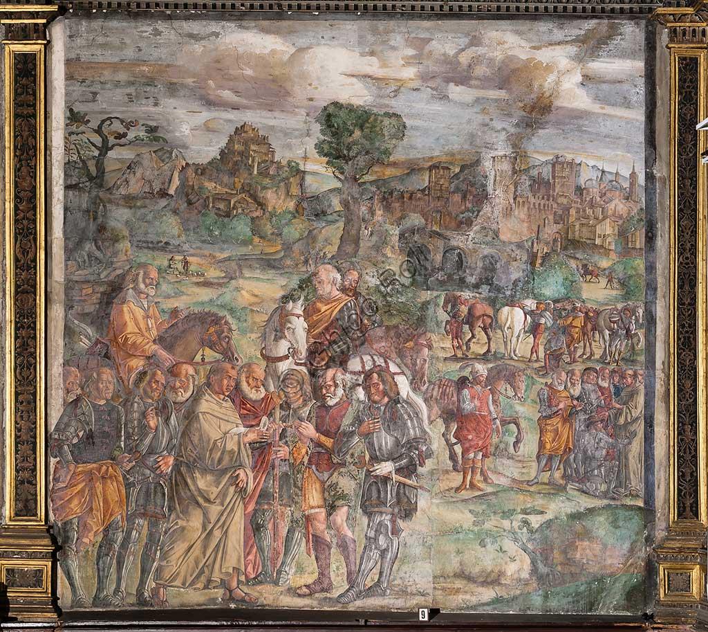 """Padova, Basilica di Sant'Antonio o del Santo, Scuola del Santo, Salone:  """"Sant'Antonio affronta il tiranno Ezzelino a Verona"""", affresco di Giovanni Antonio Corona, 1510-1511."""