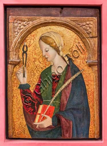 """Bergamo, Bernareggi Museum: """" St. Apollonia"""", by Bernardo or Antonio Marinoni (about 1493 - 1533/45)."""