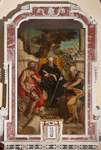 """Genova, Duomo (Cattedrale di S. Lorenzo), Interno, Battistero (già Chiesa di San Giovanni il Vecchio): """"I Santi Benedetto, Giovanni Battista e Luca"""", di Luca Cambiaso, olio su tavola, 1562."""