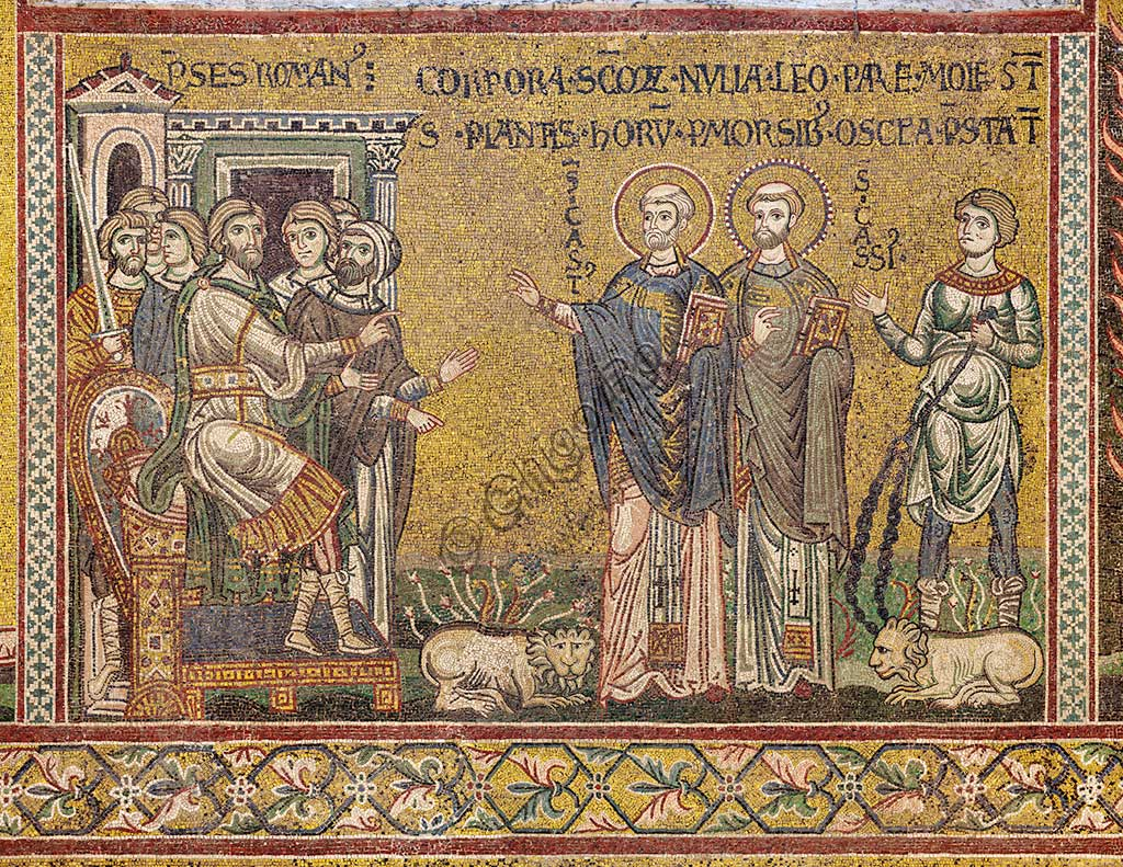 "Monreale, Duomo: ""St. Cassius and St Casto before the Emperor"", Byzantine mosaic, XII - XIII century, on the counter-facade."