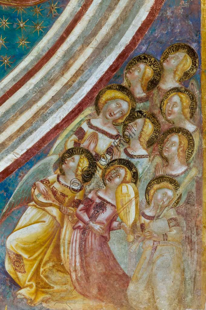 Codigoro, Pomposa Abbey, interior of the Basilica of Santa Maria, the apse basin: frescoes by Vitale da Bologna. Detail with saints.
