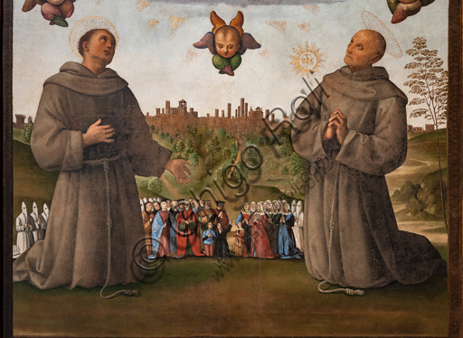 Perugia, National Gallery of Umbria: Banner of Justice, by Pietro di Cristoforo Vannucci, known as Perugino, around 1496, oil and tempera painting on canvas. Detail with angels above, below saints Francis and Bernardino, in the background the city of Perugia with people and confreres, .