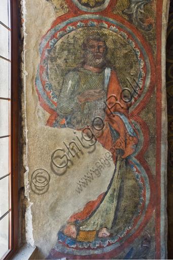 Firenze, Battistero di San Giovanni, i matronei, galleria est,  prima tribuna (delle gerarchie degli Angeli), mosaici dell'ambiente del Maestro di San Gaggio e del Maestro di Santa Cecilia (circa 1300-1310). Dettaglio con santo.