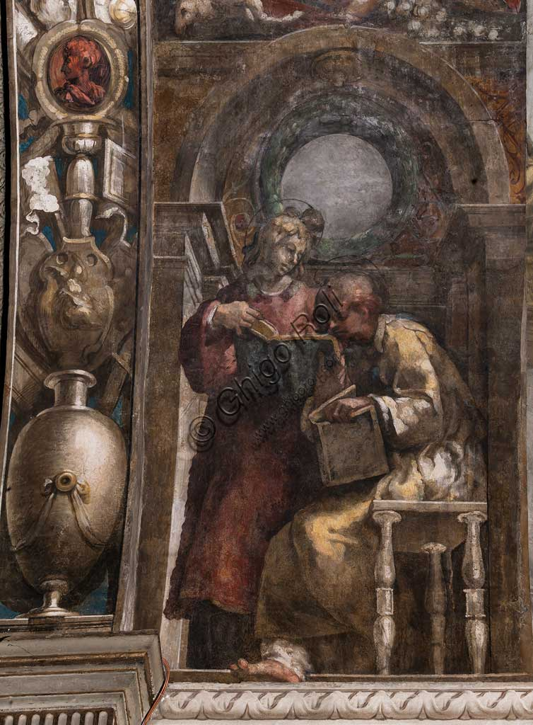 "Parma, Church of San Giovanni Evangelista, left aisle, second chapel: ""St. Stephen and St. Lawrence"",  fresco by Girolamo Francesco M. Mazzola, known as Parmigianino (about 1523)."