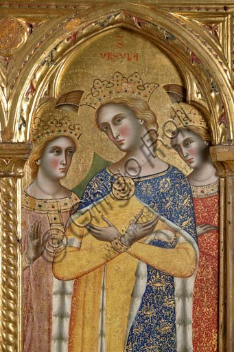 San Severino Marche, Pinacoteca Comunale: Paolo Veneziano, Polittico (1358) con Santi. Particolare con Sant'Orsola.