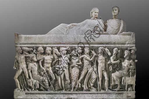 """Musei Capitolini, Stanzette Terrene:   """"Sarcofago con scene della vita di Achille"""", marmo del III sec. d. C."""