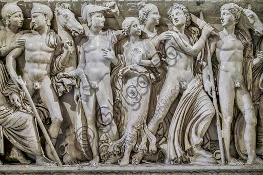 """Musei Capitolini, Stanzette Terrene:   """"Sarcofago con scene della vita di Achille"""", marmo del III sec. d. C., particolare."""