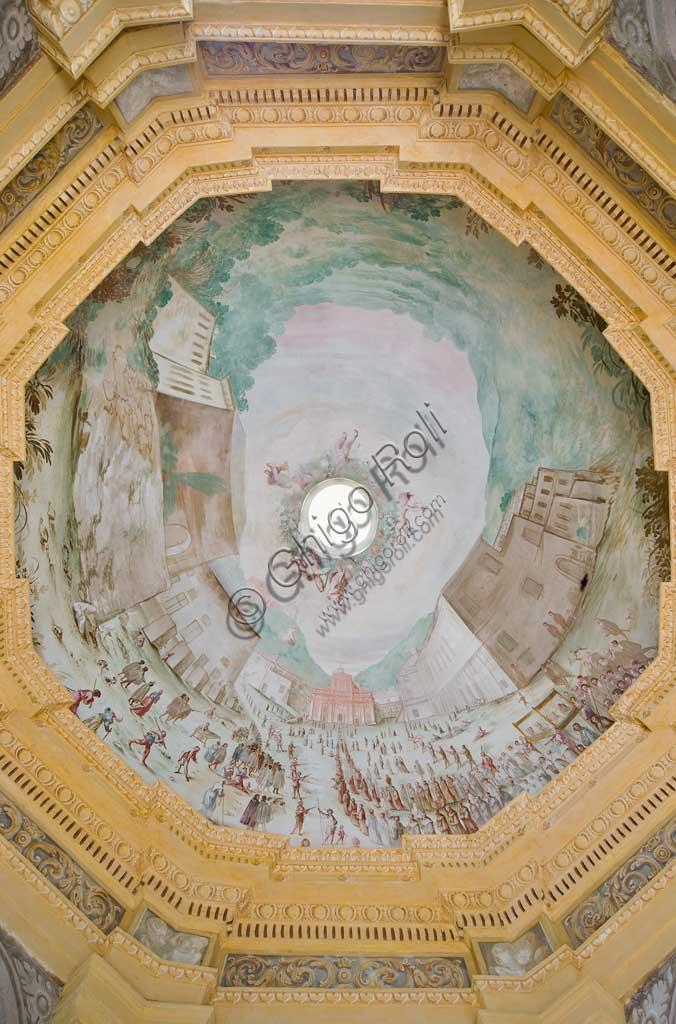 Savona, Località Santuario, Santuario di Nostra Signora Madonna della Misericordia, cappella della Crocetta: la volta con veduta sul Santuario in prospettiva a volo d'uccello. Affreschi di Bartolomeo Guidobono ed Enrico Haffner, 1679 - 1680.