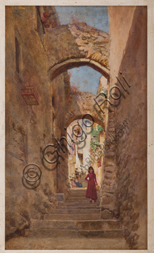 "Assicoop - Unipol Collection: Alberto Pisa (Ferrara, 1864 - 1903), ""Flight of Steps in Taormina"", watercolour on cardboard."