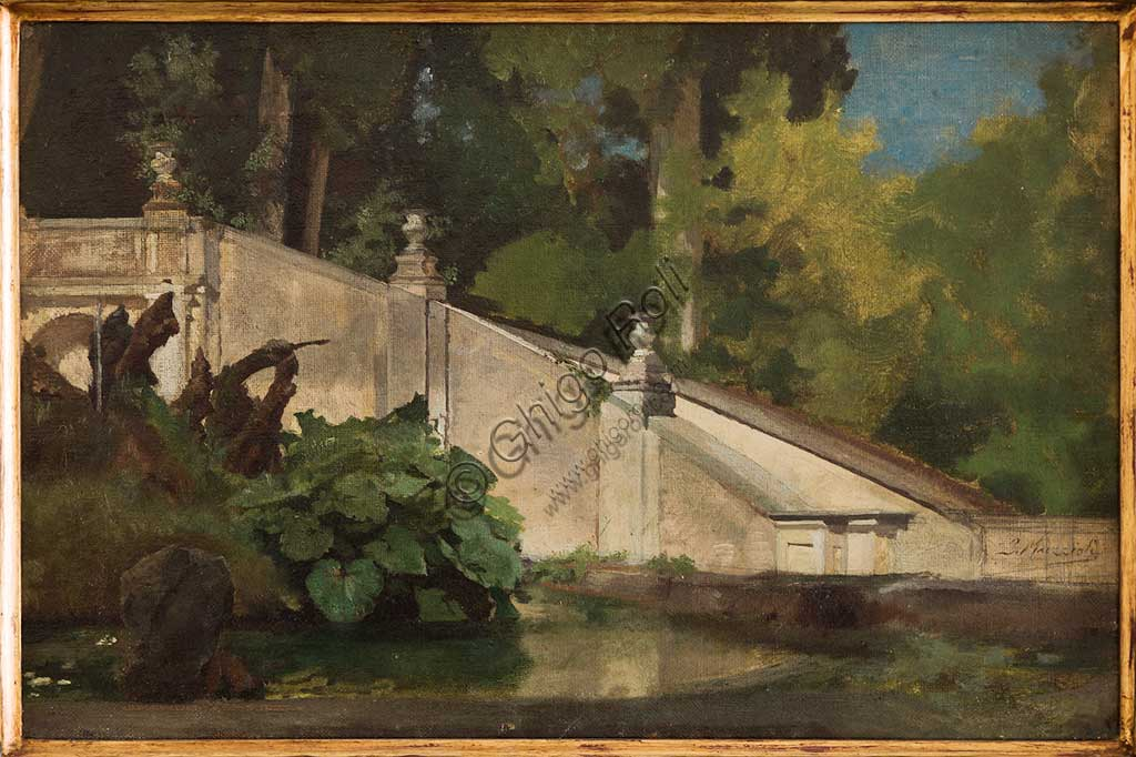 "Assicoop - Unipol Collection: Giovanni Muzzioli (1854 - 1894); ""Flight of Steps with Pond""; oil on canvas, cm. 39 x 23."