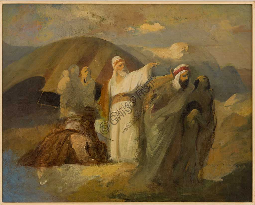 "Collezione Assicoop Unipol:  Antonio Simonazzi (1824-1908); ""Scena Biblica""; olio su tela, cm. 34,5 x 43."