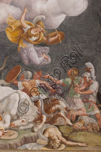 Mantua, Palazzo Ducale (Gonzaga's residence), Sala di Troia (Chamber of Troy): detail representing a battle. Frescoes by Giulio Romano and his assistants (1538 - 1539).