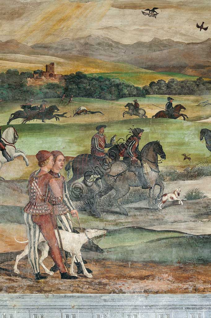 Cavernago, Malpaga Castle or Colleoni Castle, Hall of Honour: cycle of frescoes depicting the visit of Christian I of Denmark to Bartolomeo Colleoni, by Marcello Fogolino, (some historians attribute these frescoes to Romanino), 1474. Detail with hunting scene.