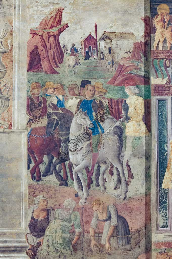Ferrara: Palazzo Schifanoia, Hall of the Months, Lower section: Life scenes of Borso d'Este's court,   on a project by Cosmé Tura e realised by painters of the Ferrara school, about 1468 - 1470. Detail.