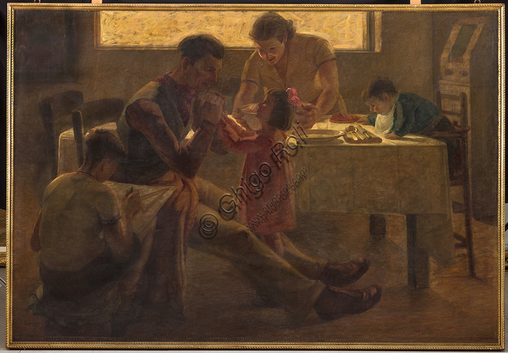 "Assicoop - Unipol Collection:Bruno Semprebon (1906 - 1995): ""Family Scene"". Oil painting, cm 200 x 140."
