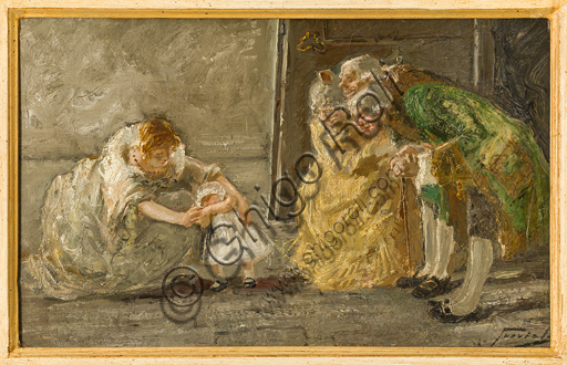 "Gaetano Previati (Ferrara 1852 - 1920): ""Scena""; olio su tela, cm. 25 X 40."