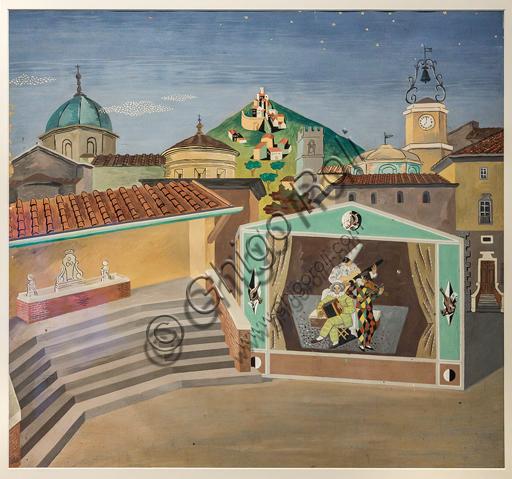 """Museo Novecento: """"Scena unica per l'Amfiparnaso, di O. Vecchi"""", 1938, di Gino Severini. Matita e tempera su cartoncino."""