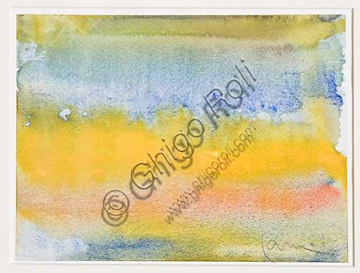 "Assicoop - Unipol Collection: Erio Carnevali (1949 - ...), ""Scene"". Watercolour, cm 15 x 21."