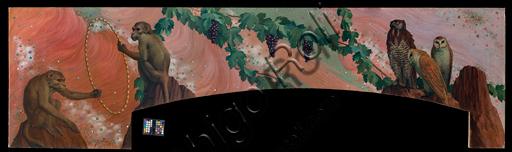 """Giovan Battista Crema (1883-1964): """"Scimmie e rapaci""""; olio su tela; (cm. 350 × 110)."""