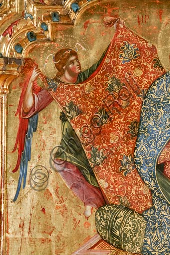 Rome, National Museum of Palazzo Venezia (from the church of St. George in Piran, Slovenia): Paolo Veneziano,  Polyptych of the the Virgin with Child and Saints. Detail of the central section with an Angel holding a brocade curtain richly decorated.