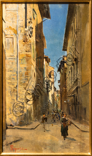 """Telemaco Signorini: """"Partial View of a Street in the Historic Centre of Florence"""", about 1880, oil painting on panel."""