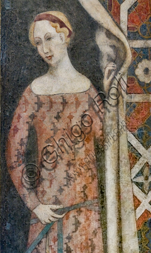 Lombardy worskhop: fresco representing a woman drawing a drape with a geometrical pattern, beginning XV century.