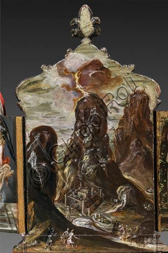"""Modena, Galleria Estense: altarolo portatile di Domenico Theotokòpoulòs detto El Greco (1541-1614). Tempera grassa su tavola, cm 37 x 23,8. Pannello centrale del retro con """"Consegna delle Tavole della Legge sul monte Sinai"""""""