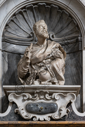 "Basilica of the Holy Cross, left aisle: ""Sepulchre of Galielo Galilei"", 1734-7.Detail of the bust by Giovan Battista Foggini (1677)."