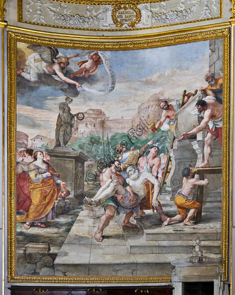 """Basilica of St Andrew della Valle, walls of the choir: frescoes with episodes from the life of St. Andrew: """"Burial of St. Andrew"""". Fresco by Mattia Preti, 1650 - 51."""