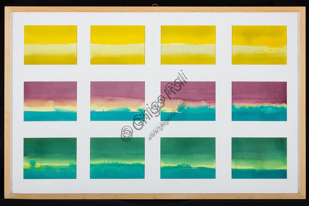 "Assicoop - Unipol Collection:Erio Carnevali (1949): ""Sequences"". Watercolour, cm 60 x 90."