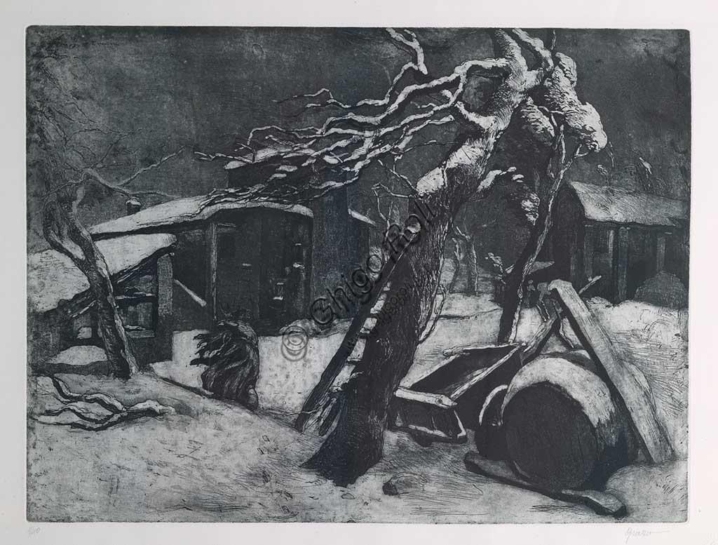 """Collezione Assicoop - Unipol: """"Sera Invernale"""", acquaforte e acquatinta su carta, di Giuseppe Graziosi (1879 - 1942)."""