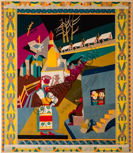 "Rovereto, Casa Depero: ""Serrada"", (""Feast of the Chair""), textile intarsia work by Fortunato Depero, 1920."