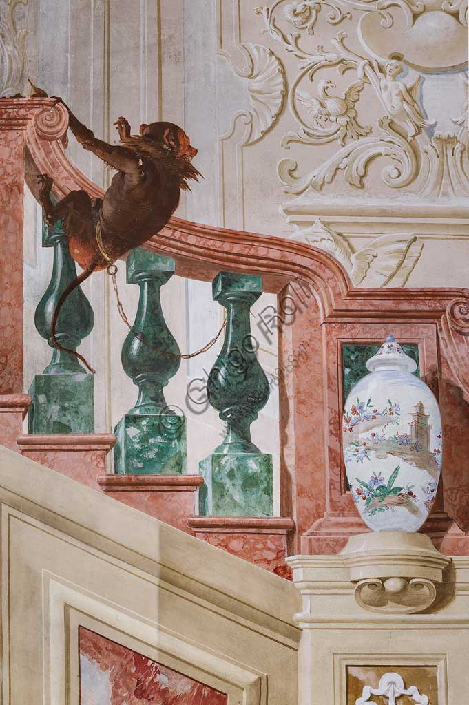 "Vicenza, Villa Valmarana ai Nani, Guest Lodgings, the Room of the Carnival Scenes: ""Moor Servant on a False Staircase"". Frescoes by Giandomenico Tiepolo, 1757. Detail with monkey."