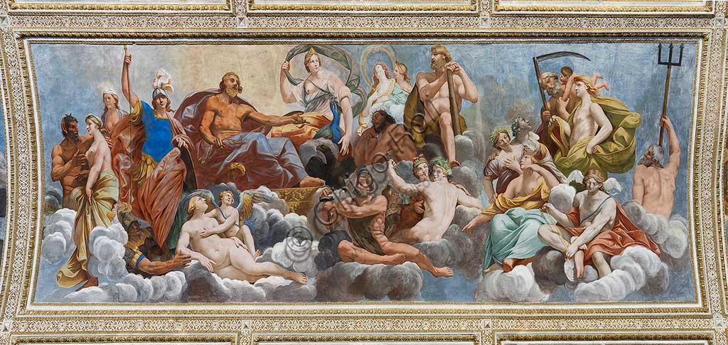 """Mantova, Palazzo Ducale, Appartamento Ducale, Sala degli Specchi (già Galleria Grande), la volta: """"Consesso degli Dei dell'Olimpo"""" . Affresco di Carlo Santner, 1618."""