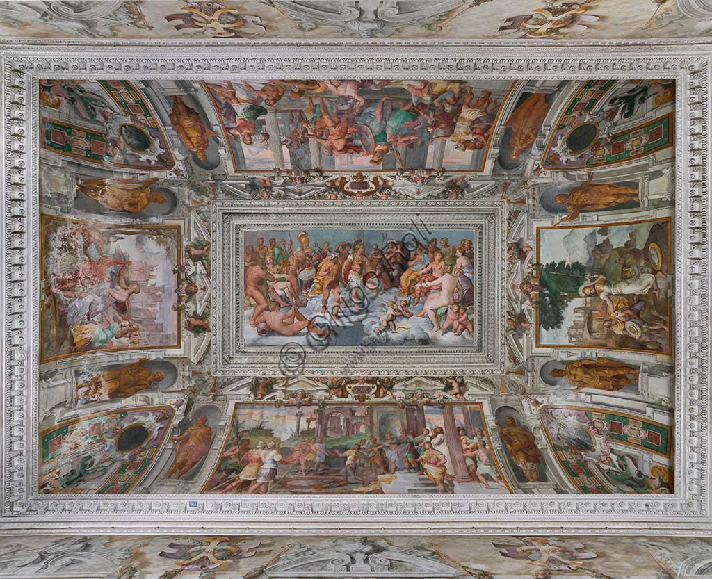 "Genoa, Villa Pallavicino delle Peschiere,  the hall: at the centre of the vault ""The Assembly of Gods"", along the sides ""Ulysses' stories"". Frescoes by Giovanni Battista Castello, known as ""il Bergamasco"", about 1560."