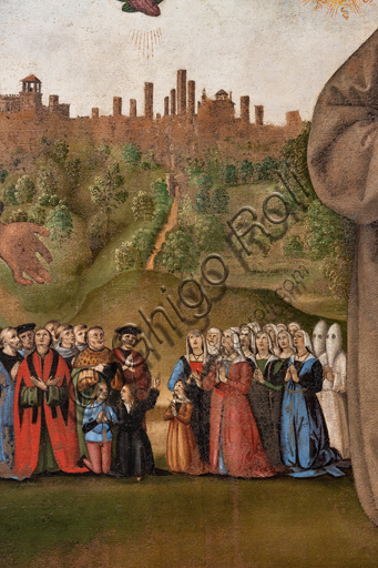 Perugia, National Gallery of Umbria: Banner of Justice, by Pietro di Cristoforo Vannucci, known as Perugino, around 1496, oil and tempera painting on canvas. Detail of the background with the city of Perugia with people and confreres.