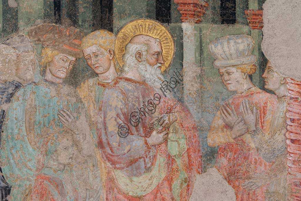 Ferrara, Pinacoteca Nazionale: fresco detached from the Church of San Domenico on the subject of the Stories of St. John the evangelist, by Maestro G.Z. (Michele dai Carri?), 15th century. Detail with St. John.
