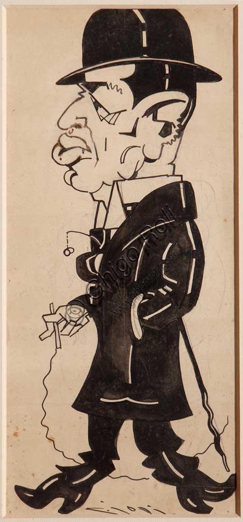 """Collezione Assicoop - Unipol: Casimiro Jodi (1886-1948),  """"Il signor Cavallini"""". Inchiostro nero  su carta."""