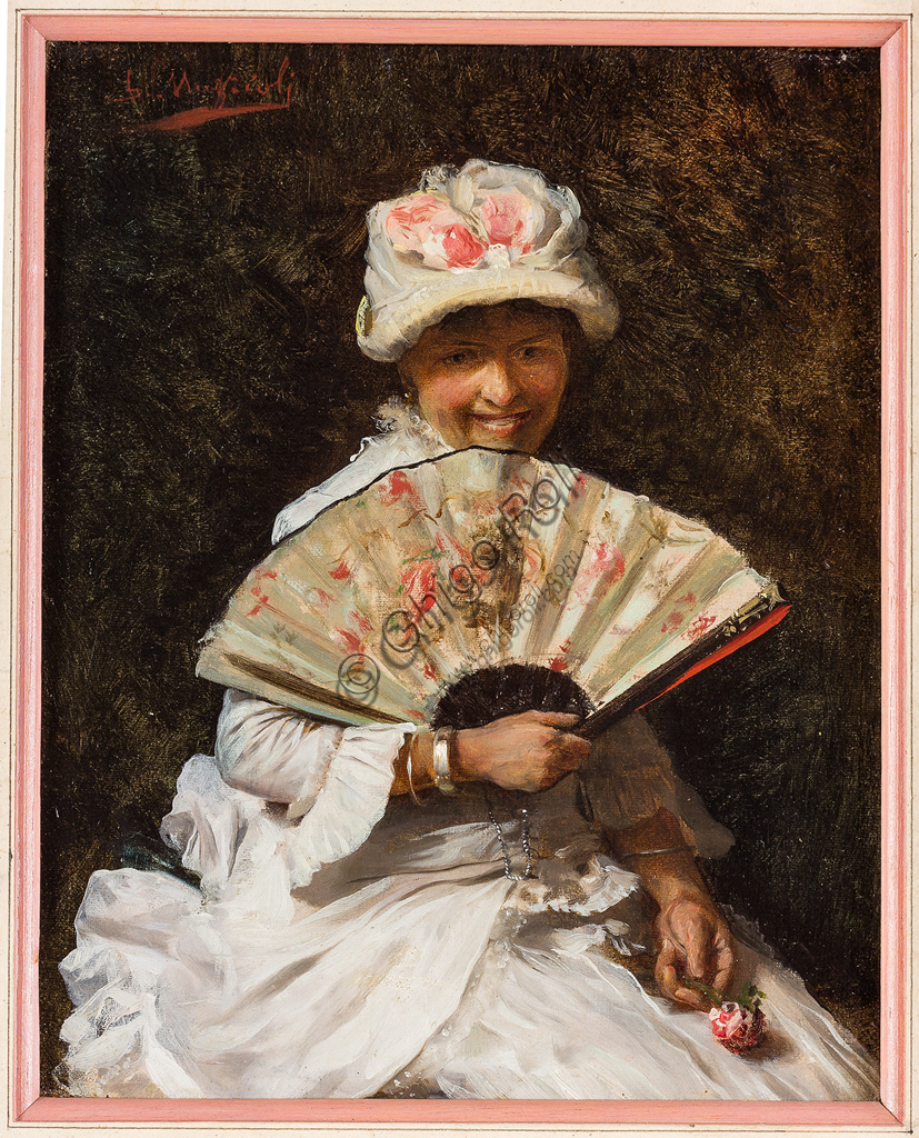 "Assicoop - Unipol Collection:Giovanni Muzzioli (1854 - 1894): ""Lady with fan"".  Oil painting,  cm 19 x 24."