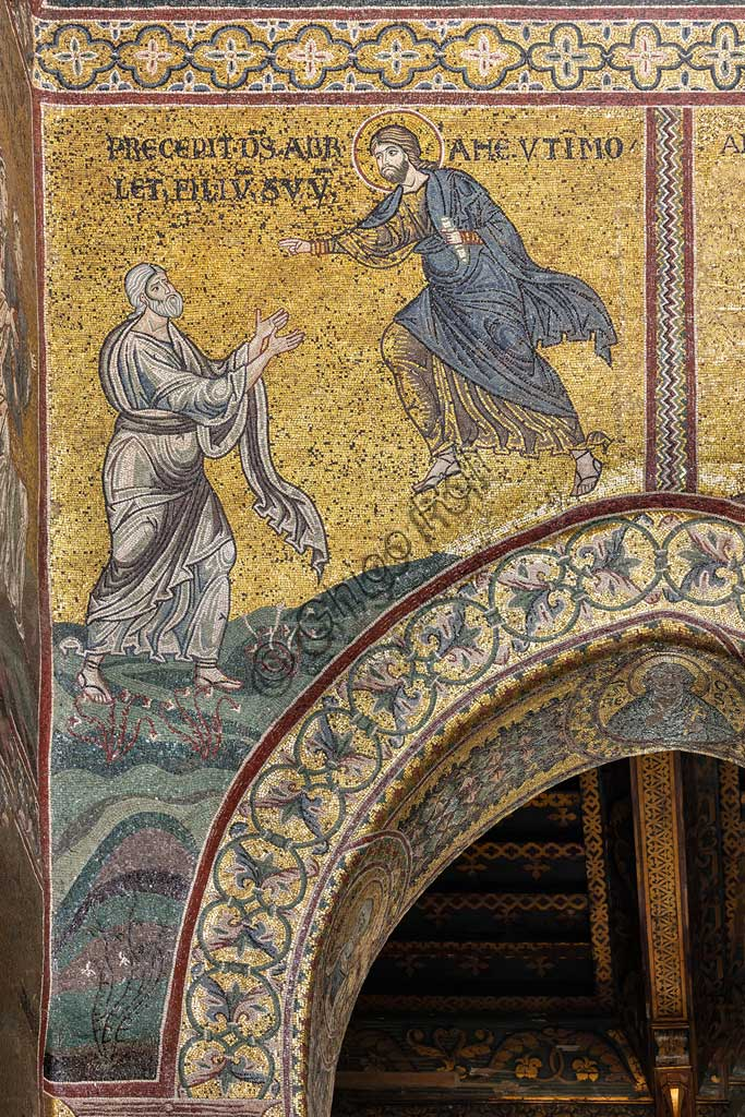 "Monreale, Duomo: ""The Lord orders Abraham to sacrifice Isaac"", Byzantine mosaic, Old Testament cycle - Abraham, XII - XIII century.Latin inscription: ""PRÆCEPIT DEUS ABRAMÆ UT IMMOLET FILIUM SUUM""."