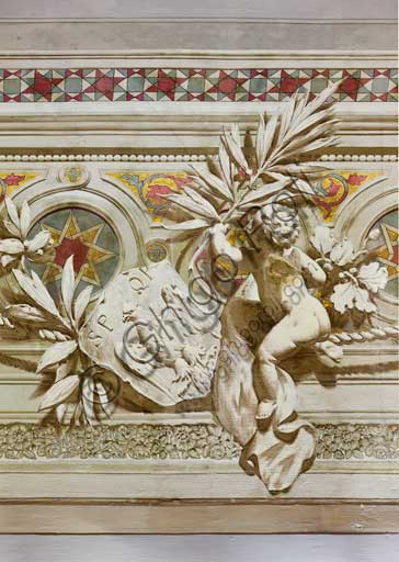 Palermo, The Royal Palace or Palazzo dei Normanni (Palace of the Normans), The Royal Apartment, The Viceroy Room:decorative friezes of the vault. Detail with the royal symbol of the eagle. Dry wall paintings by Salvatore Gregorietti, 1901