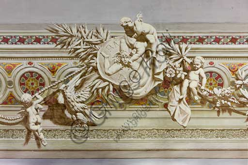 Palermo, The Royal Palace or Palazzo dei Normanni (Palace of the Normans), The Royal Apartment, The Viceroy Room:decorative friezes of the vault. Detail with the symbol of the three legs of Trinacria. Dry wall paintings by Salvatore Gregorietti, 1901