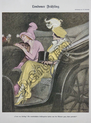 """""""Simplicissimus, n. 10"""", Illustration by Marcello Dudovich for the cover of the satirical - humorous magazine, 1913, letterpress print."""
